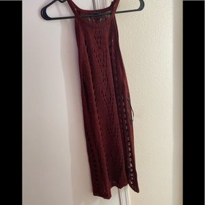 Red crochet shimmer fabric cover up dress